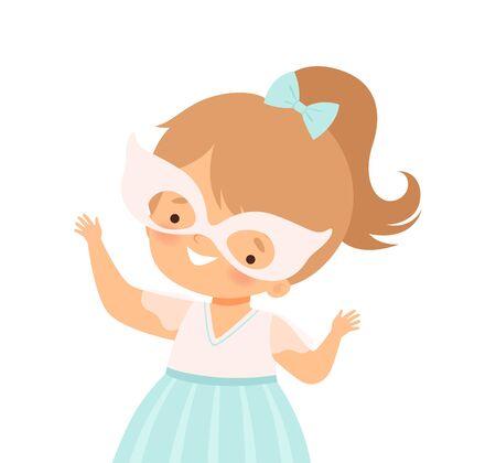 Little Girl Wearing Festive Mask Waving Hands Vector Illustration