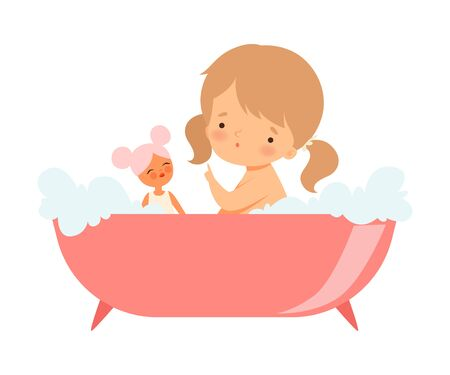 Little Girl Sitting in Bathtub and Playing with Her Doll Vector Illustration 일러스트