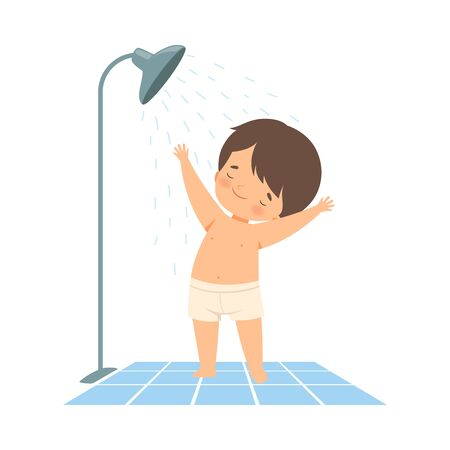 petit garçon, avoir, douche, dans, salle bains, sur, sien, propre, vecteur, illustration