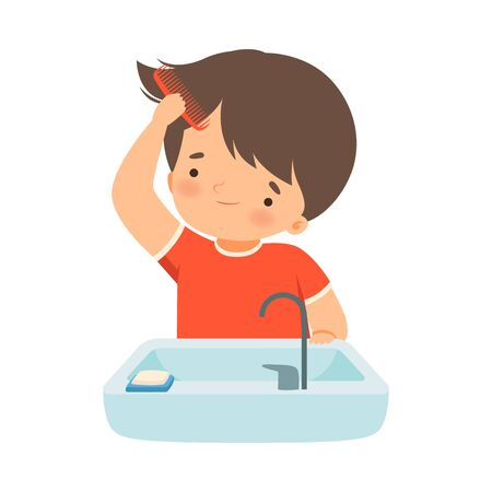 Little Boy Brushing His Wet Hair with Comb Vector Illustration