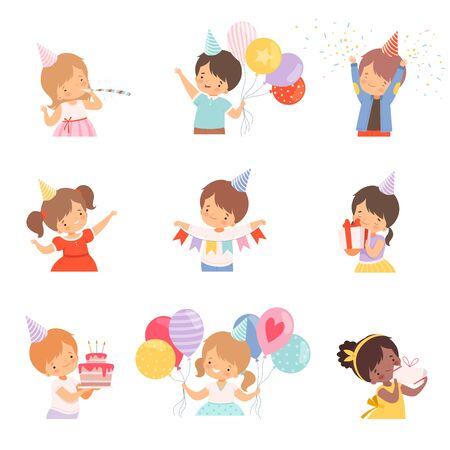 Little Children Celebrating Birthday Holding Festive Attributes Vector Illustrations Set