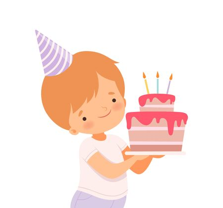 Little Boy Wearing Birthday Hat Carrying Cake with Candles Vector Illustration