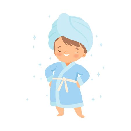 Little Boy Wearing Bathrobe Standing with Towel on His Head Vector Illustration