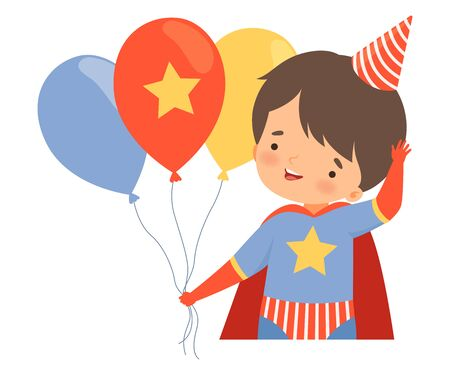 Little Boy Wearing Carnival Costume and Birthday Hat Carrying Bunch of Balloons Vector Illustration