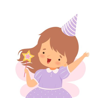 Little Girl Wearing Birthday Hat and Fairy Costume Carrying Magic Stick Vector Illustration