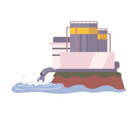 Environmental Pollution Problem and Ecology Harm from Modern Industry Vector Illustration