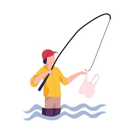 Problema de contaminación ambiental y daño ecológico ilustración vectorial. Contaminación del agua con basura doméstica Ilustración de vector