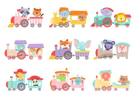 Cheerful African and Forest Animals Riding on Toy Train Vector Illustrations Set