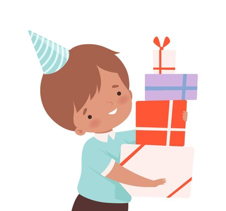 Little Boy Wearing Birthday Hat Carrying Pile of Gift Boxes Vector Illustration. Childish Special Event Celebration Concept Ilustrace
