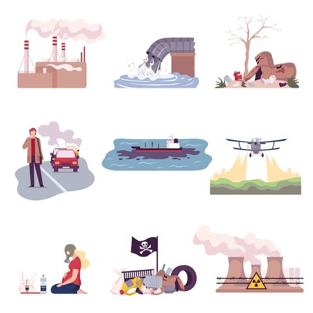 Environmental Pollution and Its Sources Vector Illustrations Set