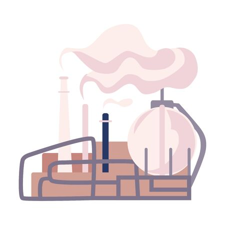 Environmental Pollution and Its Source Vector Illustration. Air Pollution Because of Smoke from Plant Emission Illustration