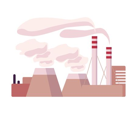 Environmental Pollution and Its Source Vector Illustration. Air Pollution Because of Smoke from Plant Emission. Ecology Problem Concept Ilustração