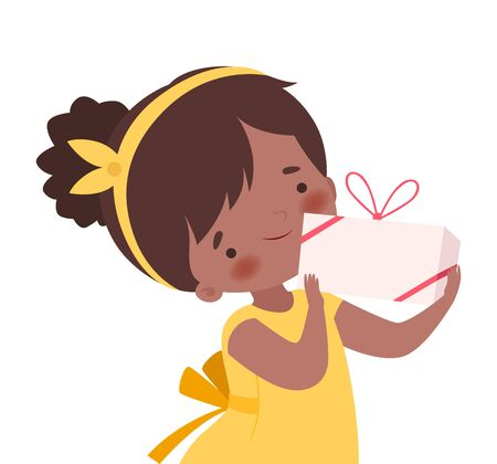 Little Girl Wearing Hairband Holding Carton Gift Box Tied with Ribbon Vector Illustration. Childish Special Event Celebration Concept