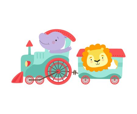 Cheerful Red Cheeked Hippo and Lion Driving Toy Wheeled Train Vector Illustration