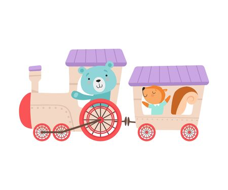 Cheerful Red Cheeked Bear and Squirrel Driving Toy Wheeled Train Vector Illustration