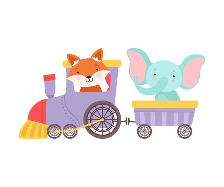 Cheerful Red Cheeked Elephant and Fox Driving Toy Wheeled Train Vector Illustration