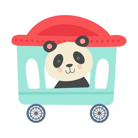 Cheerful Red Cheeked Panda Driving Toy Wheeled Carriage Vector Illustration