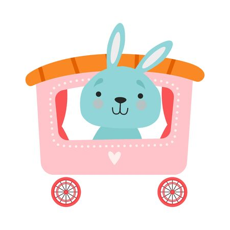Cheerful Red Cheeked Hare Driving Toy Wheeled Carriage Vector Illustration