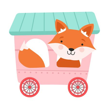 Funny Red Cheeked Fox Riding on Carriage Vector Illustration