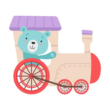 Cheerful Red Cheeked Bear Waving Paw Driving Toy Wheeled Train Vector Illustration
