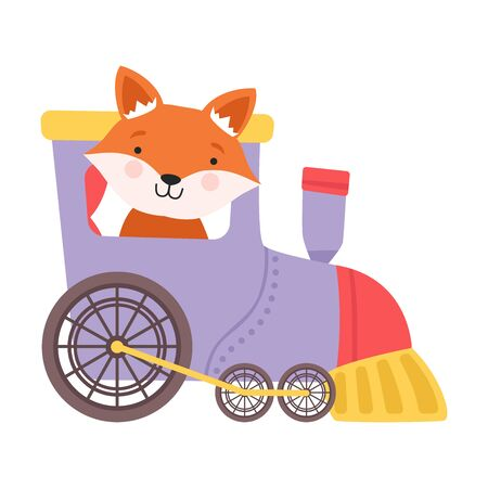 Cheerful Red Cheeked Fox Driving Toy Wheeled Train Vector Illustration