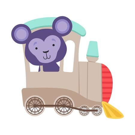 Cheerful Bucket Ears Monkey Driving Toy Wheeled Train Vector Illustration