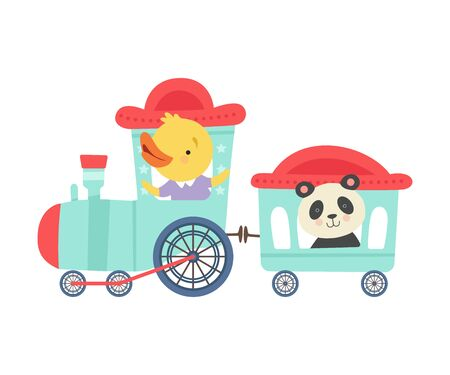 Cheerful Red Cheeked Chicken and Panda Driving Toy Wheeled Train Vector Illustration
