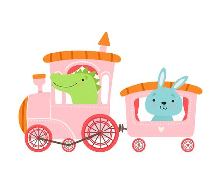Cheerful Red Cheeked Crocodile and Hare Driving Toy Wheeled Train Vector Illustration