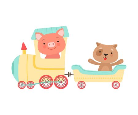Cheerful Red Cheeked Pig and Dog Driving Toy Wheeled Train Vector Illustration Çizim