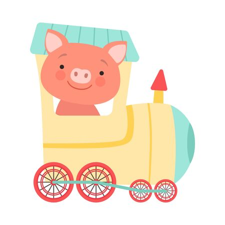 Cheerful Red Cheeked Pig Driving Toy Wheeled Train Vector Illustration