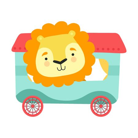 Cheerful Red Cheeked Lion Driving Toy Wheeled Carriage Vector Illustration Çizim