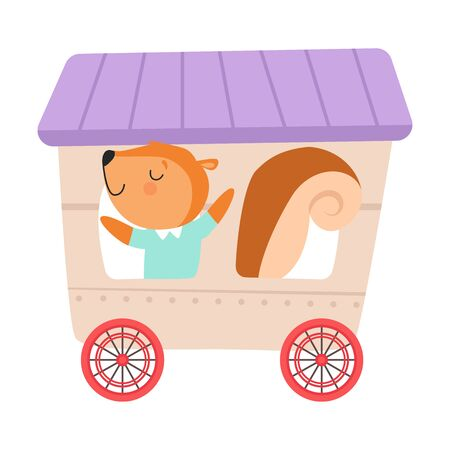 Cheerful Red Cheeked Squirrel Driving Toy Wheeled Carriage Vector Illustration Çizim