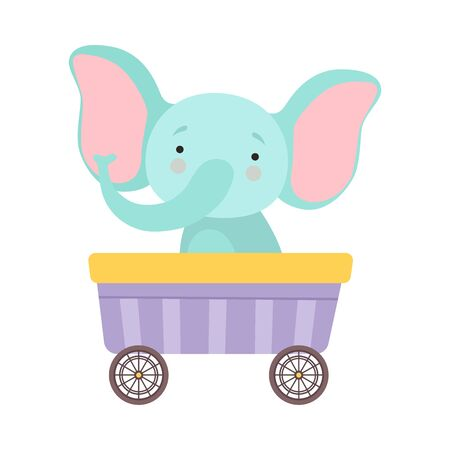 Cheerful Red Cheeked Elephant Driving Toy Wheeled Carriage Vector Illustration Çizim