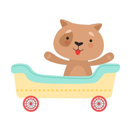 Cheerful Red Cheeked Dog Driving Toy Wheeled Carriage Vector Illustration Çizim