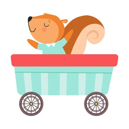 Funny Red Cheeked Squirrel Riding on Carriage Vector Illustration