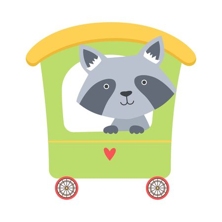 Funny Raccoon Riding on Carriage Vector Illustration