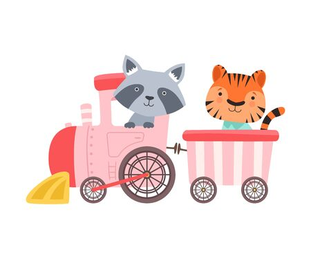 Cheerful Red Cheeked Tiger and Raccoon Driving Toy Wheeled Train Vector Illustration