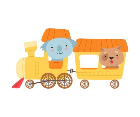 Cheerful Red Cheeked Koala and Dog Driving Toy Wheeled Train Vector Illustration