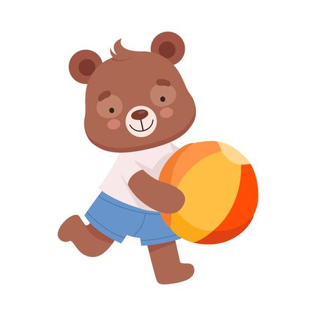 Cheerful Bear Character Wearing Playsuit Running with Ball in His Paws Vector Illustration