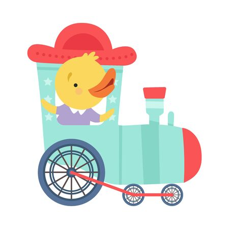 Cheerful Red Cheeked Chicken Driving Toy Wheeled Train Vector Illustration Çizim