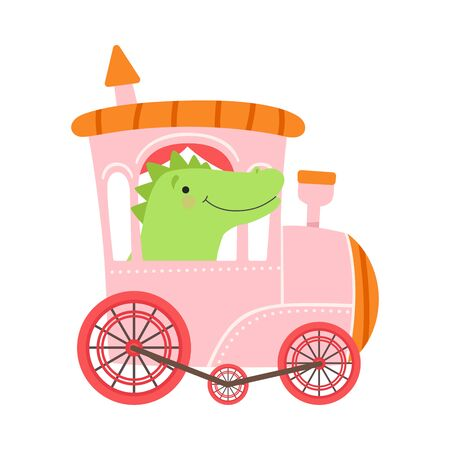 Cheerful Red Cheeked Crocodile Driving Toy Wheeled Train Vector Illustration