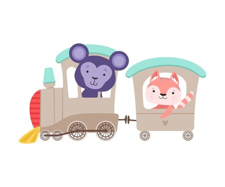 Cheerful Bucket Ears Monkey and Whiskered Cat Driving Toy Wheeled Train Vector Illustration Çizim