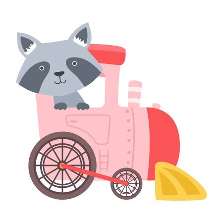 Cheerful Raccoon Driving Toy Wheeled Carriage Vector Illustration