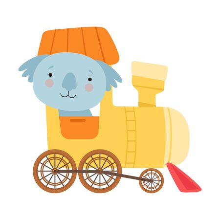 Cheerful Red Cheeked Koala Driving Toy Wheeled Train Vector Illustration