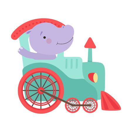 Cheerful Red Cheeked Hippo Waving Paw Driving Toy Wheeled Train Vector Illustration Çizim