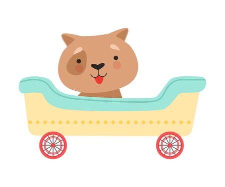 Funny Red Cheeked Dog Riding on Carriage Vector Illustration