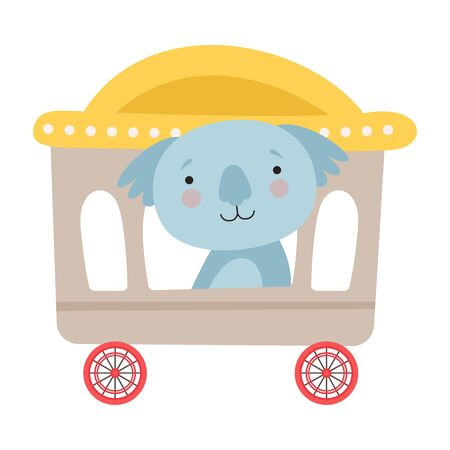 Funny Red Cheeked Koala Riding on Carriage Vector Illustration