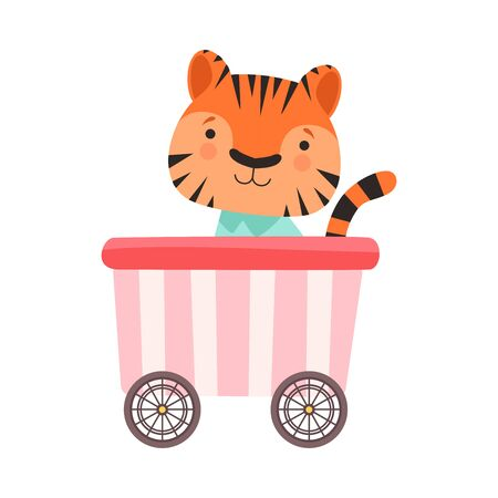 Funny Striped Tiger Riding on Carriage Vector Illustration