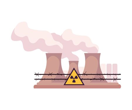 Environmental Pollution and Its Source Vector Illustration. Air Pollution Because of Smoke from Plant Emission. Ecology Problem Concept  イラスト・ベクター素材