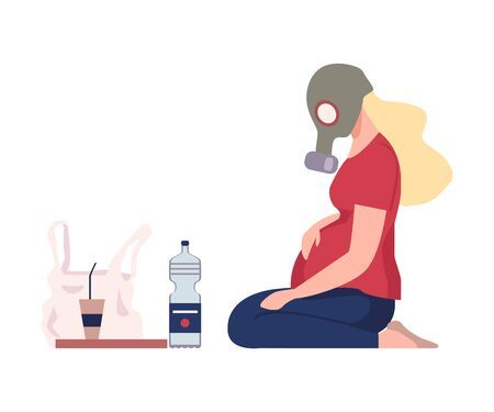 Environmental Pollution and Its Sources Vector Illustration. Urban Pollution Because of Traffic Smoke. Pregnant Woman Wearing Raspirator Sitting on the Ground